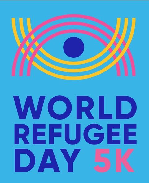 World Refugee Day 5K logo with blue background